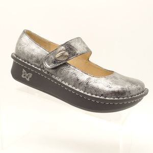 ALEGRIA Mary Jane Shoes Silver Marbled Leather